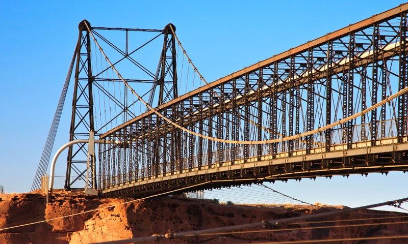 Cameron Suspension Bridge spans the Little Colorado River