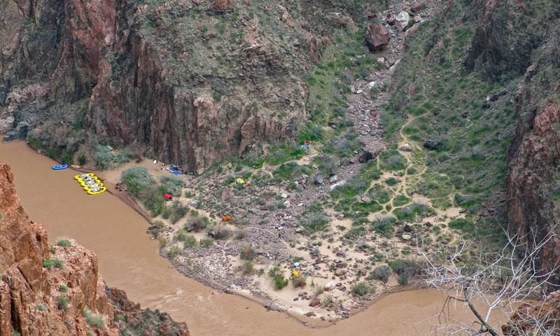 Cremation Camp near Phantom Ranch along a Colorado River Rafting Trip