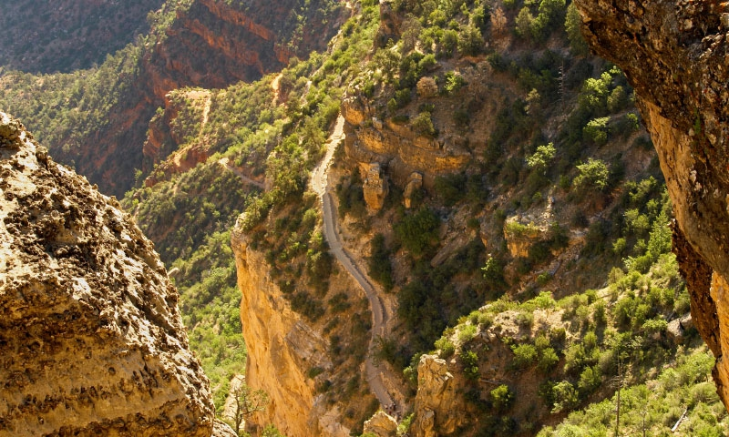 Bright Angel Trail descends into the Grand Canyon